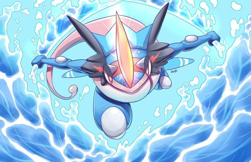 Greninja-Ash. No evoluciona hasta que venzamos a uno y no tendrá Mutatipo ni Torrente para ayudarnos.